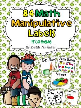 84 Math Manipulative Labels {Frog Theme}