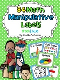 84 Math Manipulative Labels {Green& Light Blue Polka Dots}