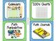 84 Math Manipulative Labels {Green& Light Blue Polka Dots}