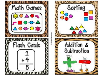 84 Math Manipulative Labels {Jungle Animal Theme}
