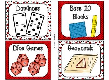 84 Math Manipulative Labels {Ladybug Theme}