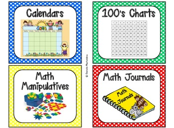 84 Math Manipulative Labels {Primary Polka Dots}