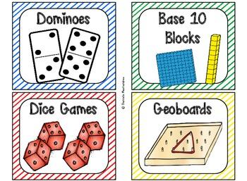 84 Math Manipulative Labels {Primary Stripes}