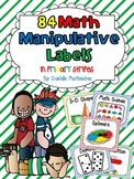 84 Math Manipulative Labels {Primary Stripes}