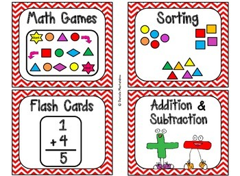 84 Math Manipulative Labels {Red Chevrons}