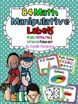 84 Math Manipulative Labels {red, green turq, purple}