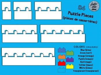 Clip Art - 84 Puzzle Pieces - Pièces de casse-têtes - Comm