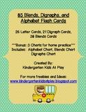 85 Digraphs, Blends, and Alphabet Flash Cards With Bonus C