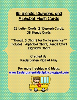 85 Digraphs, Blends, and Alphabet Flash Cards With Bonus C