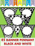 Classroom Decor Editable 85 Banner Pennant Chevron, Stripes, Dots, Animal print