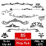 85 Flourishes- Clipart Mega Pack   Vector Text Dividers /