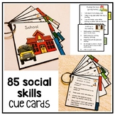 85 portable social skill cue cards. Conversation, self regulation. Autism