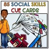 85 portable social skill cue cards. Conversation, self regulation. Autism