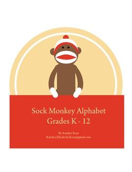 8.5 x 11 Sock Monkey Alphabet PDF