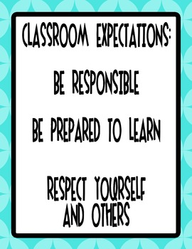 """8.5""""x11"""" Bright Class Rules Poster - Turquoise"""