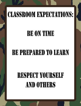 """8.5""""x11"""" Camo Class Rules Poster"""