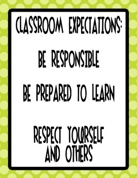 "8.5""x11"" Lime Green Class Rules Poster - Polka Dot"