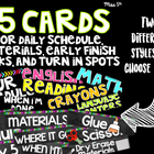 115 Cards for Daily Schedule, Materials, Early Finish Tasks, and Turn-in Spots