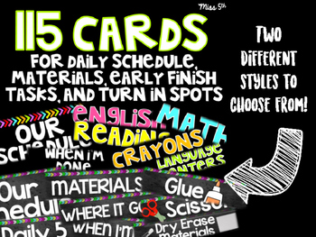 115 Cards for Daily Schedule, Materials, Early Finish Task