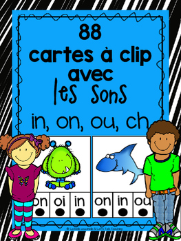 88 Cartes à clip avec les sons in, ou, ou, ch (Clip-it Car