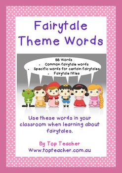 88 Fairytale theme word cards