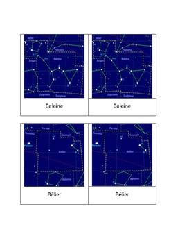 88 constellations modernes en astronomie Cartes de nomenclature Montessori