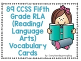 89 Common Core Reading Vocabulary Cards for Fifth Grade