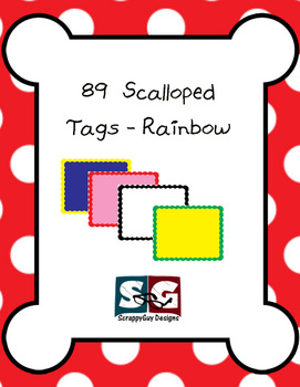 89 Scalloped Tags - Rainbow Colored