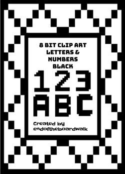 8Bit Alphabet and Numbers - Black - Clip art
