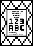 8Bit Alphabet and Numbers - Black - Clip art