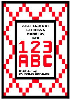 8Bit Alphabet and Numbers - Red - Clip art