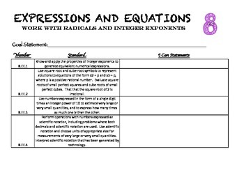 8.EE Expressions and Equations Student Data Folder