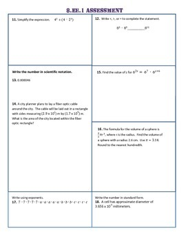 8.EE.1-8 ALL STANDARDS Common Core Pre AND Post-Assessment/Test
