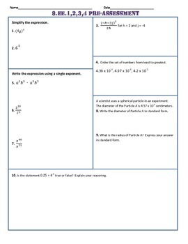 8.EE.1,2,3,4 Common Core Pre AND Post-Assessment/Test