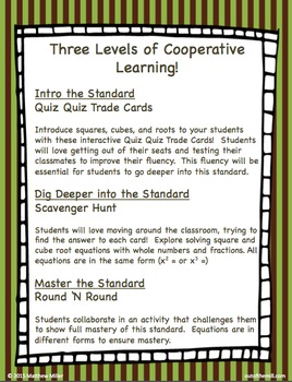 8.EE.2 Squares, Cubes, and Roots: Cooperative Learning Activities