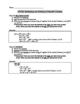 8.EE.4.A Multiplying & Dividing Scientific Notation NOTES fill-in blanks