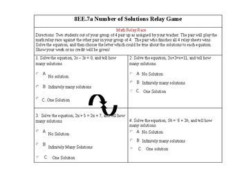 College Readiness Standard 8EE7.a How many solutions to the equation?