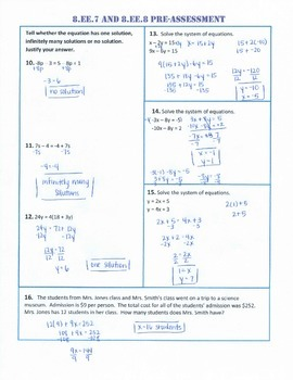 8.EE.7 and 8 Common Core Pre AND Post-Assessment/Test