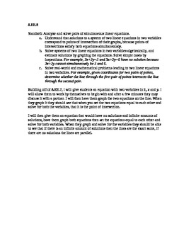 8.EE.8 Pre and post assessment with discovery learning lesson plan