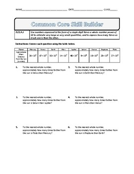 8.EE.A.3 - Common Core Math Skill Builder