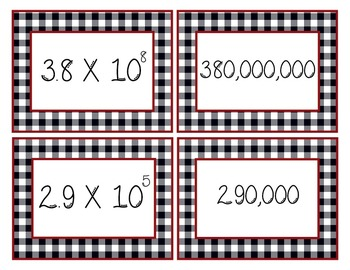 8.EE.A.3: Scientific Notation: Move It Prove It Card Matching Game