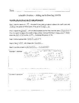 8.EE.A.4 Adding & Subtracting Scientific Notation NOTES fill-in blank