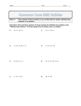 8.EE.C.7a - Common Core Math Skill Builder