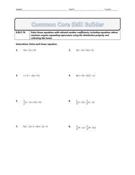8.EE.C.7b - Common Core Math Skill Builder