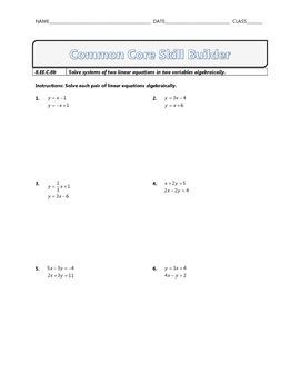 8.EE.C.8b - Common Core Math Skill Builder