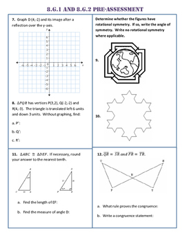 8.G.1/2 Common Core Pre AND Post Assessment/Test