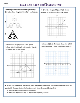 8.G.1/2 Common Core Pre-Assessment/Test
