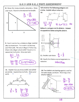 8.G.3/4 Common Core Post-Assessment/Test