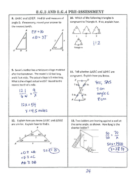 8.G.3/4 Common Core Pre-and-Post Assessment/Test