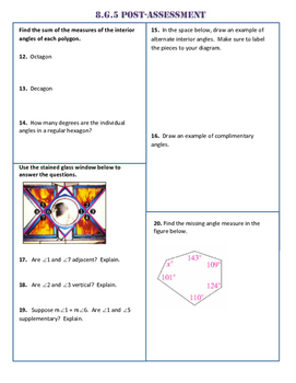 8.G.5 Common Core Post-Assessment/Test